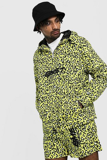 Mens Yellow Animal Print Half Zip Cagoule