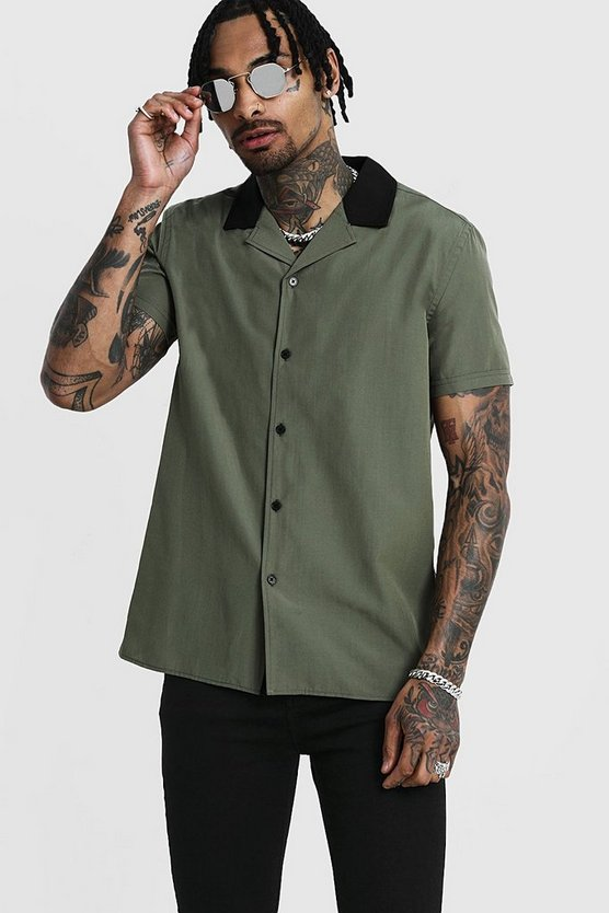 Mens Khaki Revere Short Sleeve Shirt With Contrast Collar