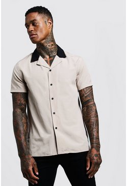 Mens Stone Revere Short Sleeve Shirt With Contrast Collar