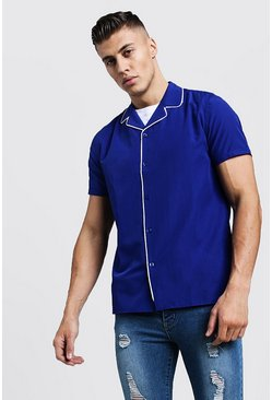 Mens Cobalt Revere Short Sleeve Shirt With Piping