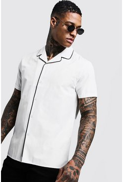 Mens Ecru Revere Short Sleeve Shirt With Piping