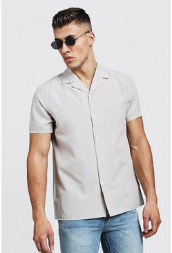 Mens Stone Revere Collar Short Sleeve Shirt