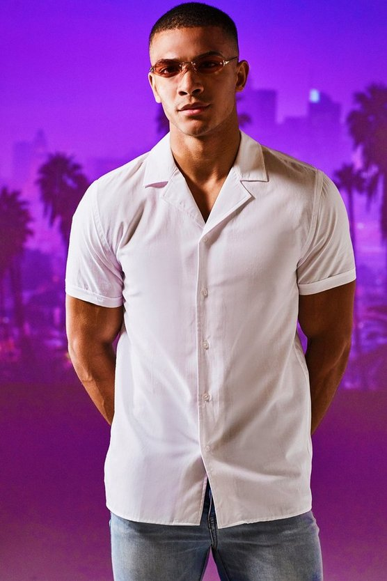 Mens White Revere Collar Short Sleeve Shirt