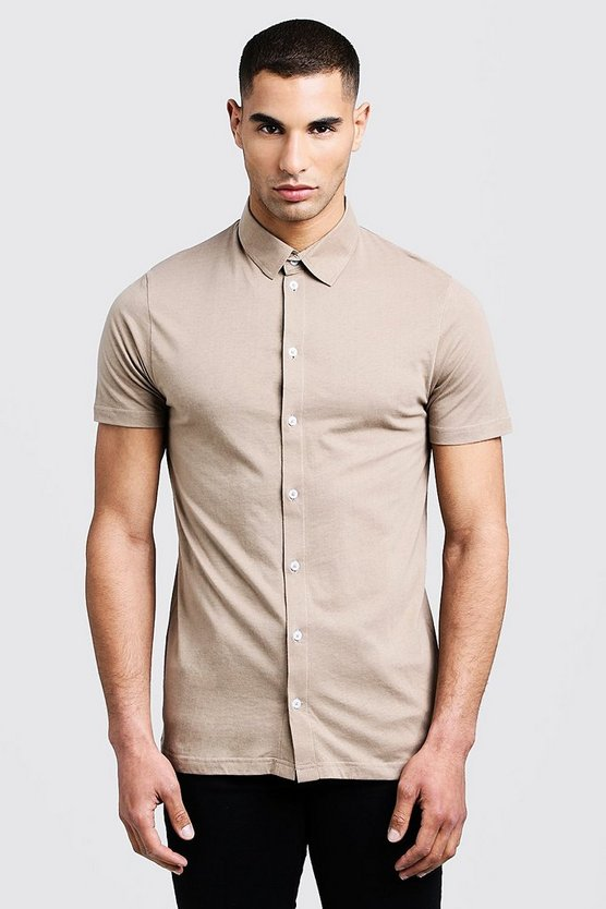 Mens Taupe Short Sleeve Jersey Shirt