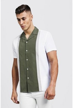 Mens Khaki Revere Short Sleeve Shirt In Colour Block
