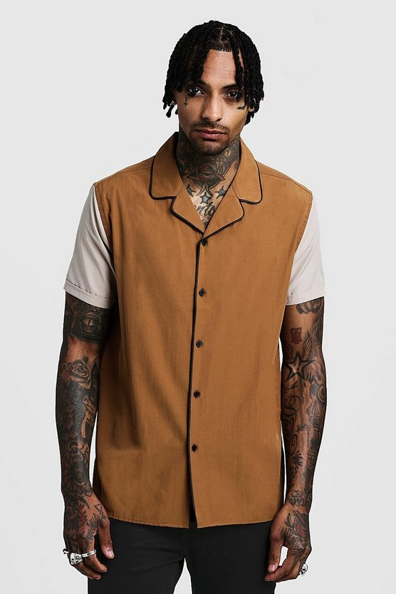 Mens Tobacco Revere Short Sleeve Shirt With Contrast Sleeves