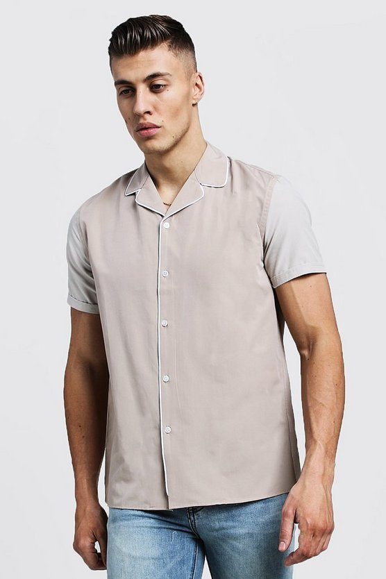 Mens Stone Revere Short Sleeve Shirt With Contrast Sleeves