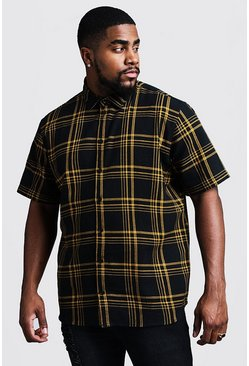 Big & Tall camicia regular fit a quadri grandi, Nero, Maschio