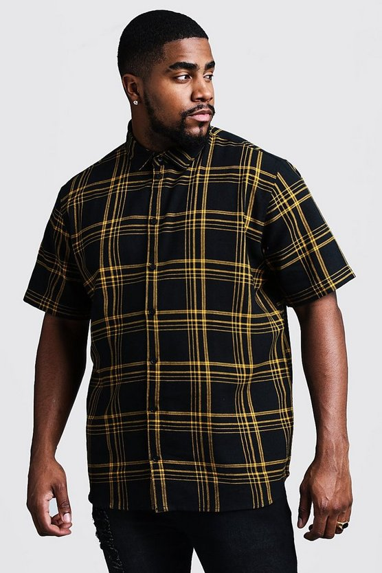 Mens Black Big & Tall Large Check Regular Fit Shirt