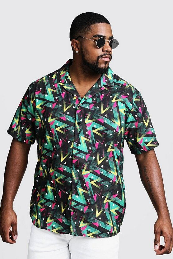 Black Big & Tall Multi Print Revere Collar Shirt
