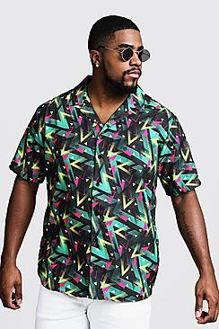 Big & Tall Multi Print Revere Collar Shirt