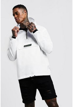 Mens White Half Zip Hooded Cagoule
