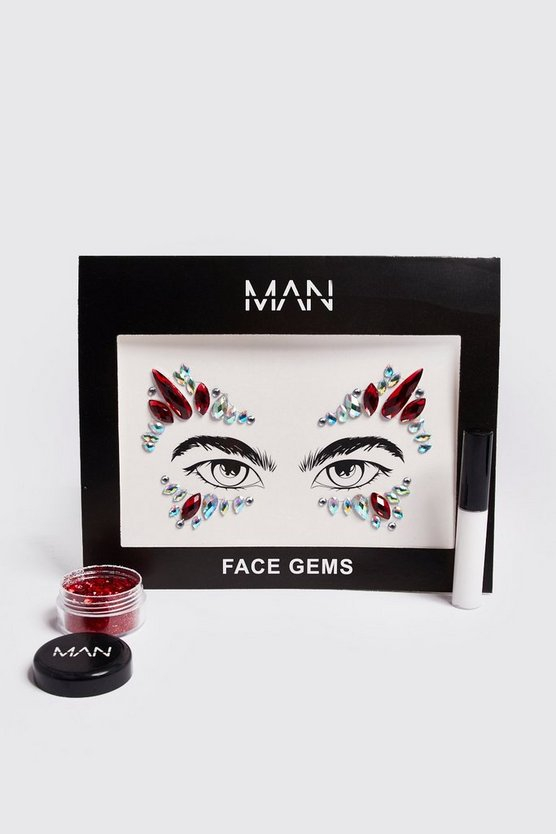 Mens Red Festival Glitter & Gems Pack
