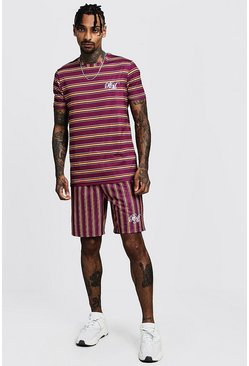 Mens Burgundy Muscle Fit BM Stripe T-Shirt & Short Set
