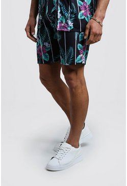 Mens Black Mid Length Floral Print Striped Jersey Shorts