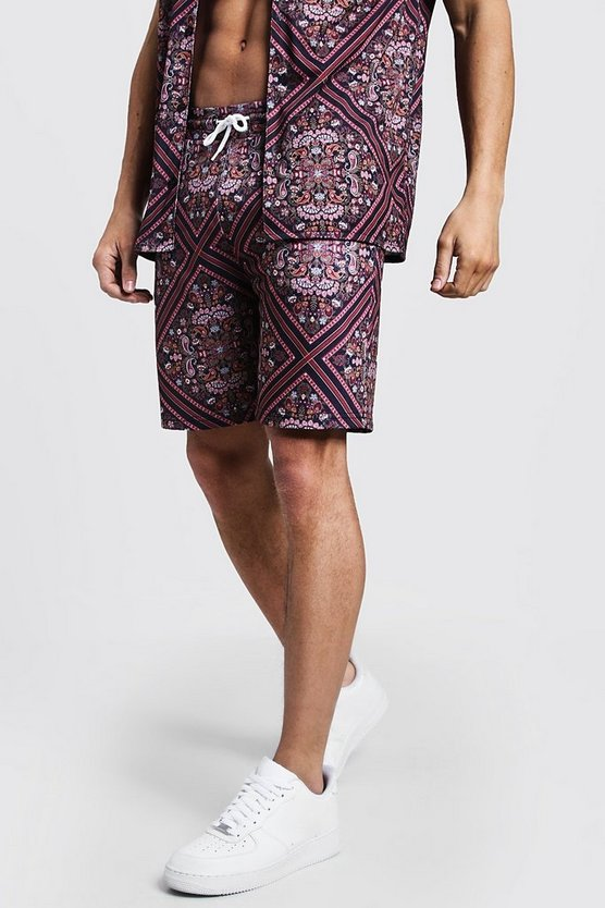 Black Mid Length Tile Print Jersey Shorts