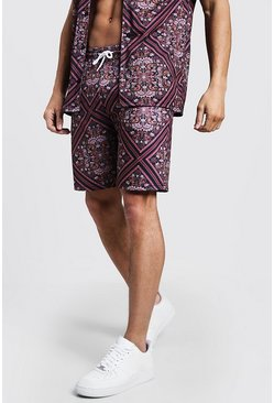 Mens Black Mid Length Tile Print Jersey Shorts