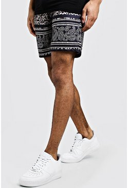 Mens Black Mid Length Jersey Animal Print Short