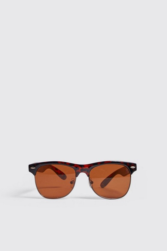Mens Brown Tortoise Frame Retro Sunglasses