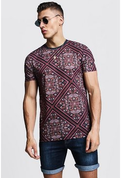 Mens Black Muscle Fit Tile Print Jersey Tee