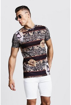 Mens Black Muscle Fit Lion Print Jersey Tee
