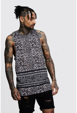 Mens Black Regular Jersey Animal Print Vest
