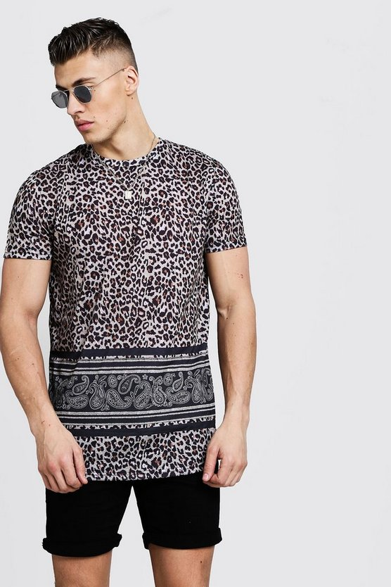 Mens Black Longline Curved Hem Animal Print Jersey Tee