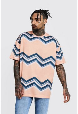 Mens Orange Oversized Chevron Jersey Printed Tee