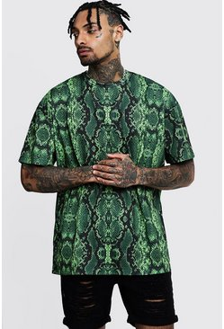 Mens Green Oversized Jersey Snake Print Tee