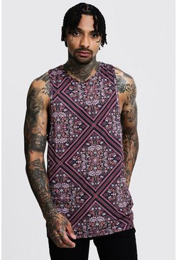 Mens Black Regular Tile Print Jersey Racer Vest