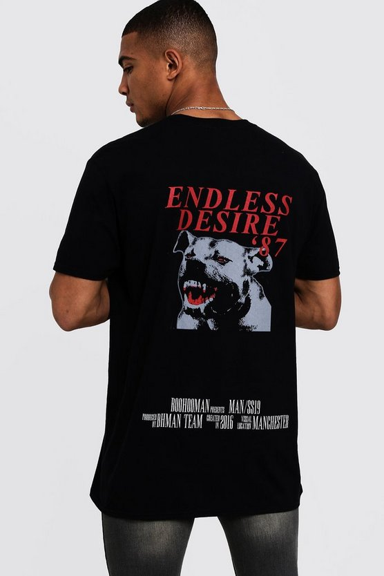 Mens Black Oversized MAN Large Back Print T-Shirt