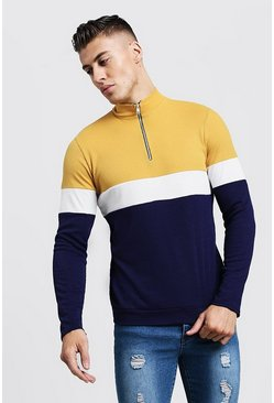 Mens Mustard Colour Block Zip Turtle Ribbed Sweater