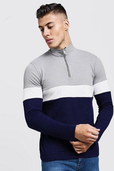 Mens Grey Colour Block Zip Turtle Ribbed Jumper