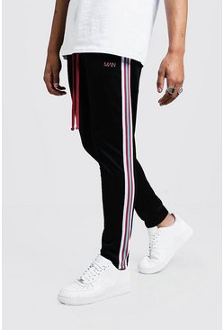Mens Pink Original MAN Tricot Joggers With Side Tape