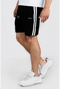 Mens Black Velour MAN Shorts With Tape