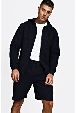 Mens Navy Pique Zip Through Short Tracksuit