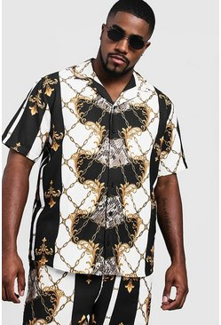 Black Big & Tall Baroque Print Revere Collar Shirt