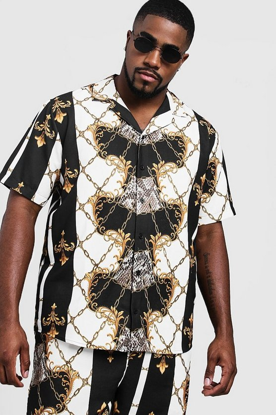 Mens Black Big & Tall Baroque Print Revere Collar Shirt