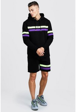 Mens Black Original MAN Contrast Panel Short Tracksuit