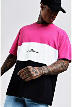 Mens Neon-pink Oversized Colour Block MAN Signature T-Shirt