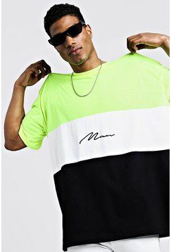 Herr Neon-green Oversized Colour Block MAN Signature T-Shirt