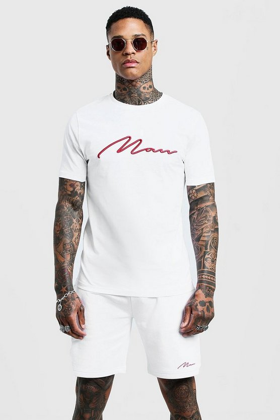 Mens White 3D MAN Embroidered T-Shirt & Short Set