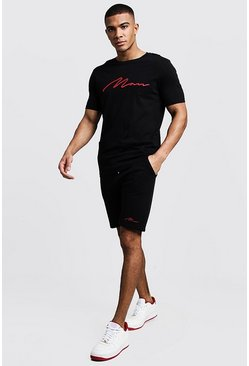 Mens Black 3D MAN Embroidered T-Shirt & Short Set