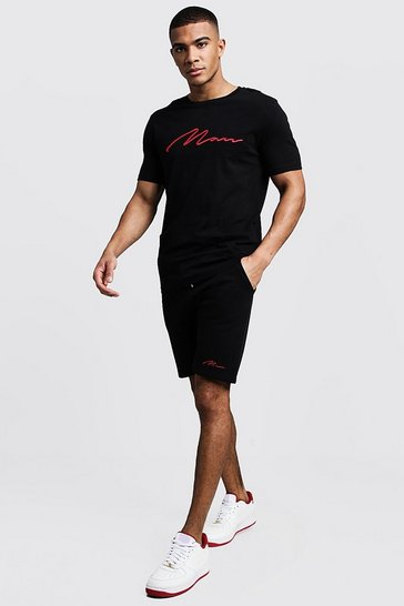 Black 3D MAN Embroidered T-Shirt & Short Set