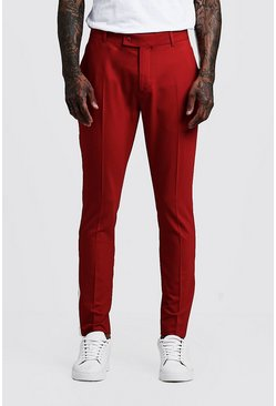 Mens Red Plain Cropped Panel Detail Skinny Trouser