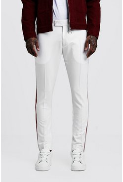Mens Ecru Plain Cropped Panel Detail Skinny Pants