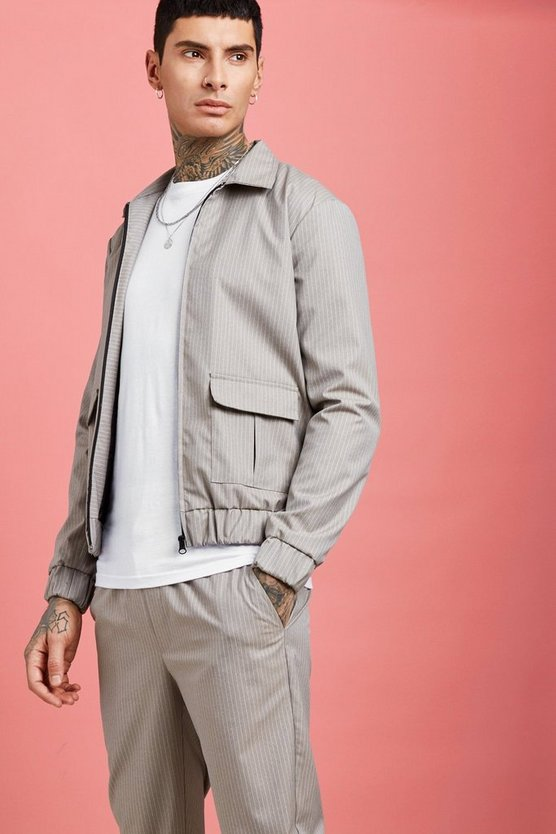 Twinset coach fonctionnel à rayures fines, Champagne, Homme