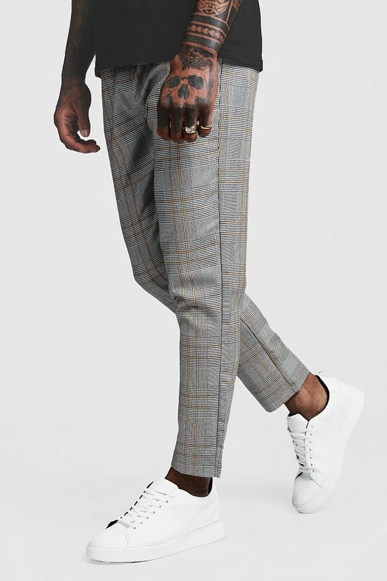 Mens Yellow Large Window Pane Check Smart Cropped Jogger