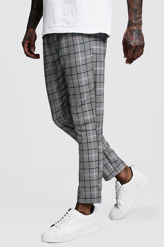Mens Pink Pastel Window Pane Check Smart Jogger