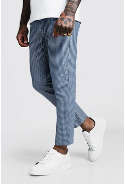 Mens Blue Mini Gingham Smart Cropped Jogger